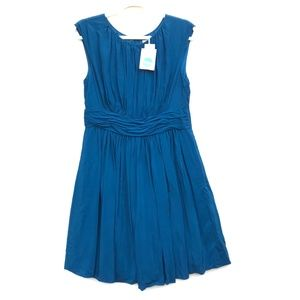 Boden Selina Pleated Teal Blue Dress Size 8 Petite